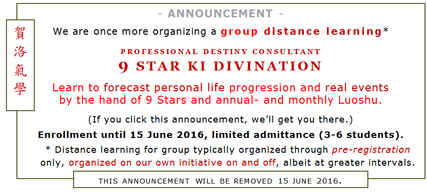 Heluo Hill group distance learning 9 Star Ki Divination