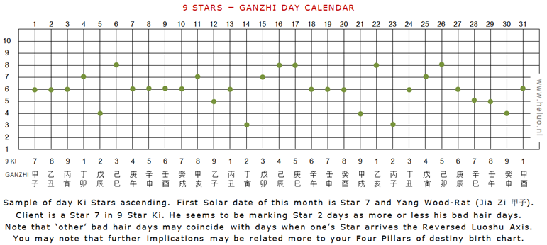 Chinese Calendar daily Stars 9 Star Ki and Four Pillars of Destiny Bazi - Heluo Hill